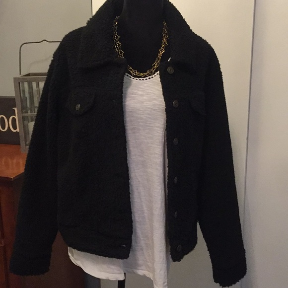 wild fable Jackets & Blazers - NWT Fuzzy black, button down coat
